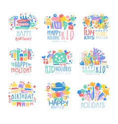 Kid holidays happy birthday logo template vector