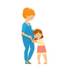 Pregnant woman with her daughter vector
