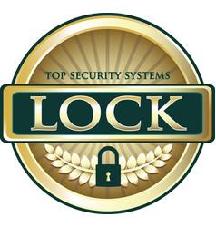 Lock gold label vector