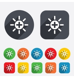 Sun plus sign icon heat symbol brightness vector