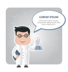 Man chemist and a text bubble vector