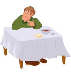 Happy cartoon man eating soup at the table vector