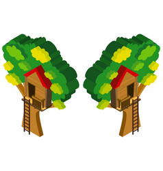 3d design for treehouse in the tree vector