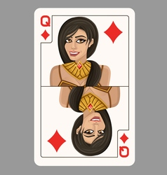 Queen of diamonds playing card vector