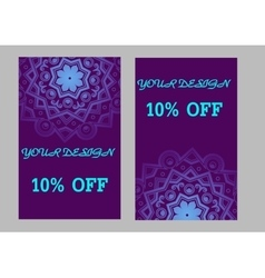 Set of business cards with violet background vector