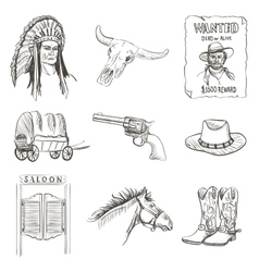 Wild west icon western wanted cowboy poster vector
