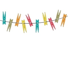 Colorful cartoon clothespins vector