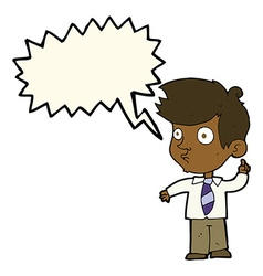 Cartoon boy asking question with speech bubble vector
