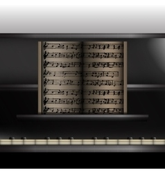 Piano front view close-up vector