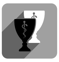 Medical cups flat square icon with long shadow vector