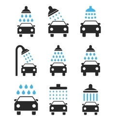 Car shower icon set vector