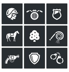 Set of street police icons vector