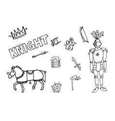 Knight icons set vector