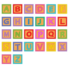 Alphabet wooden blocks vector