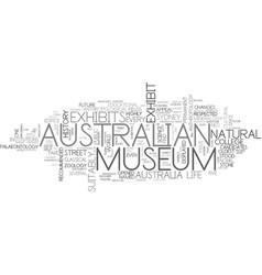 Australian museum text background word cloud vector