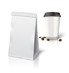 Blank white realistic paper packaging bag vector image