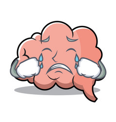 crying brain character cartoon mascot vector image vector image