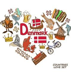 Danish symbols in heart shape concept vector
