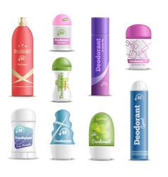 Deodorants spray sticks realistic set vector
