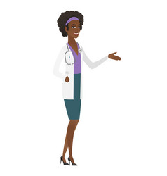 doctor with arm out in a welcoming gesture vector image vector image