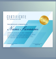 Elegant blue certificate design template vector