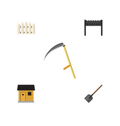 Flat icon garden set of wooden barrier shovel vector