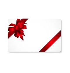 Gift Card with Red Bow and Ribbon vector image vector image