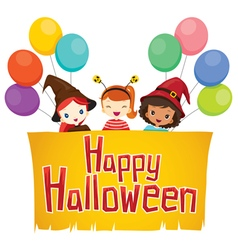 Girls with happy halloween banner vector