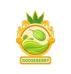 Gooseberry bright color jam label sticker template vector