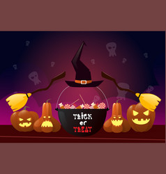 happy halloween party banner pumpkins with witch vector image vector image