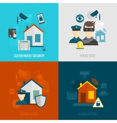 Home security flat set vector image