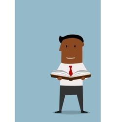 Intelligent businessman reading a book vector image