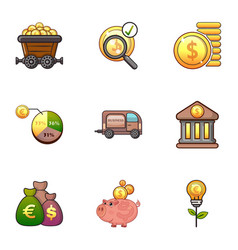 Investment icons set cartoon style vector