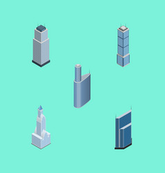 Isometric building set of cityscape building vector