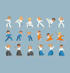 Kids on martial arts training vector