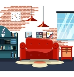 Living room with furniture and long shadows vector image vector image