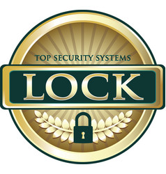 Lock gold label vector