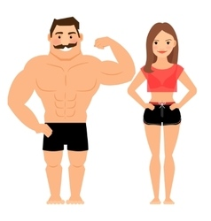 Man and woman muscular couple vector image vector image