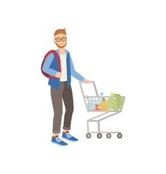 Man with backpack shopping for food in supermarket vector