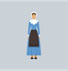 Mennonite or amich woman in traditional blue dress vector