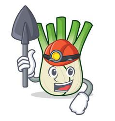 Miner fennel mascot cartoon style vector