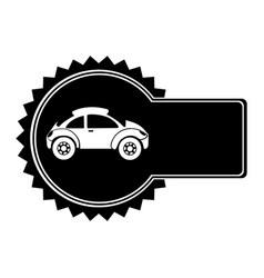 monochrome circular emblem with sports car in side vector image vector image