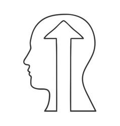 Monochrome silhouette of human head with upload vector