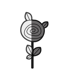 Monochrome silhouette rose with leaves and stem vector