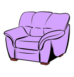 pink armchair icon cartoon vector image