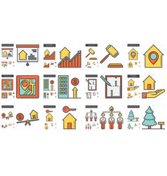 Real estate line icon set vector