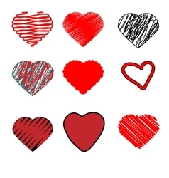 Scribble hearts hand drawn doodle heart shapes vector