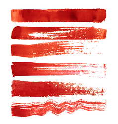 set of red brush strokes vector image vector image