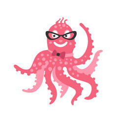 Smart cartoon pink octopus character wearing vector