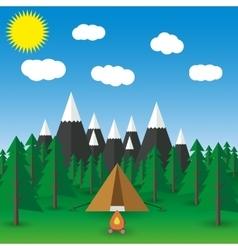 Summer landscape flat vector